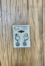 The Finishing Touch Of Kentucky Crystal and Faux Turquoise Flower Earrings