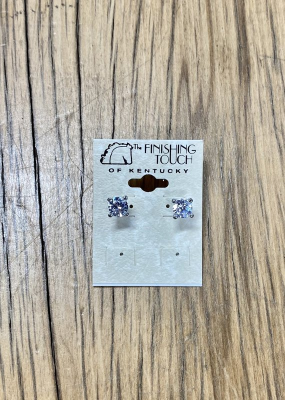 The Finishing Touch Of Kentucky Silver CZ Stud Earrings