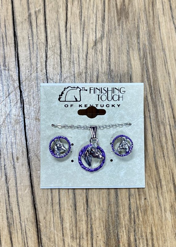 The Finishing Touch Of Kentucky Horse Head in Rope Amethyst/Silver Gift Set