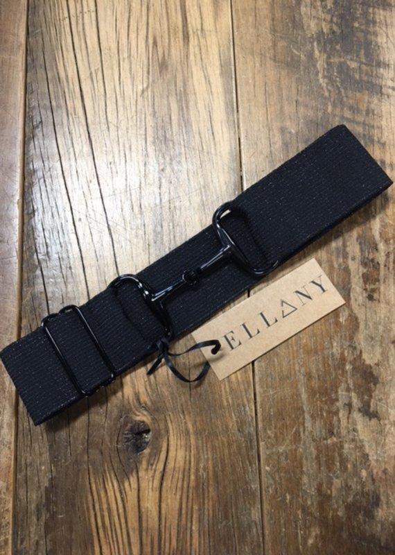 "Ellany Equestrian Ellany Arezzo 2"" Black Snaffle Elastic Belt"