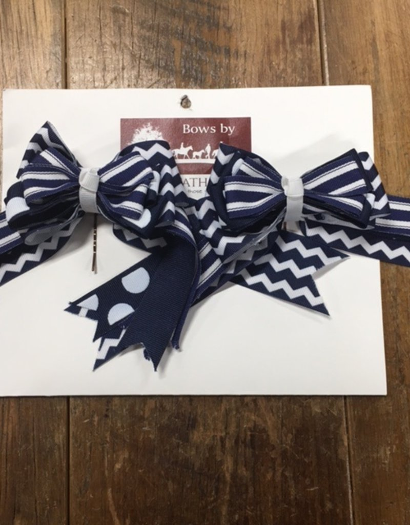 Bridle Path Tack Navy and White Show Bows