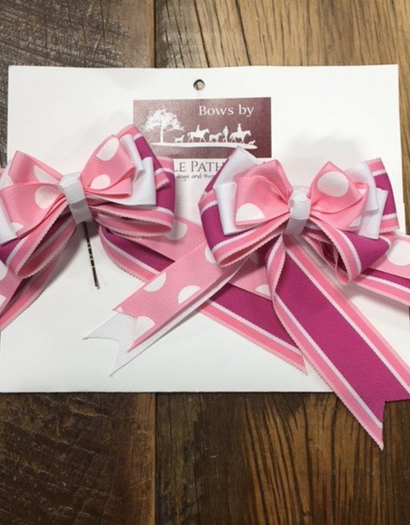 Bridle Path Tack Pink and White Polka Dot Show Bows