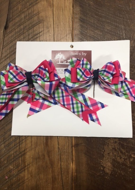 Bridle Path Tack Pink Blue and Green Plaid Show Bows