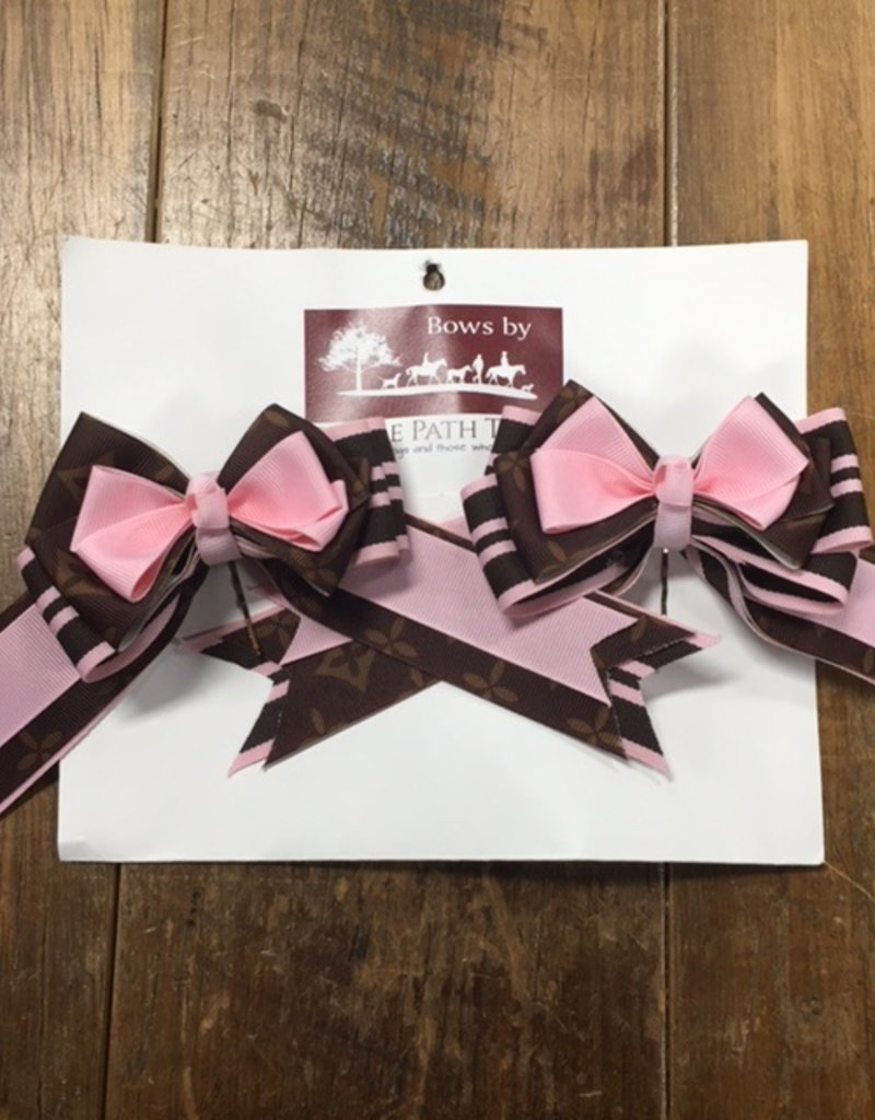 Bridle Path Tack Pink and Brown Show Bows