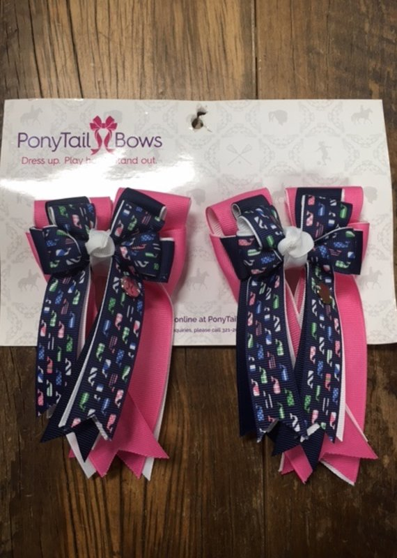 PonyTail Bows PonyTail Bows Navy Whales and Pink