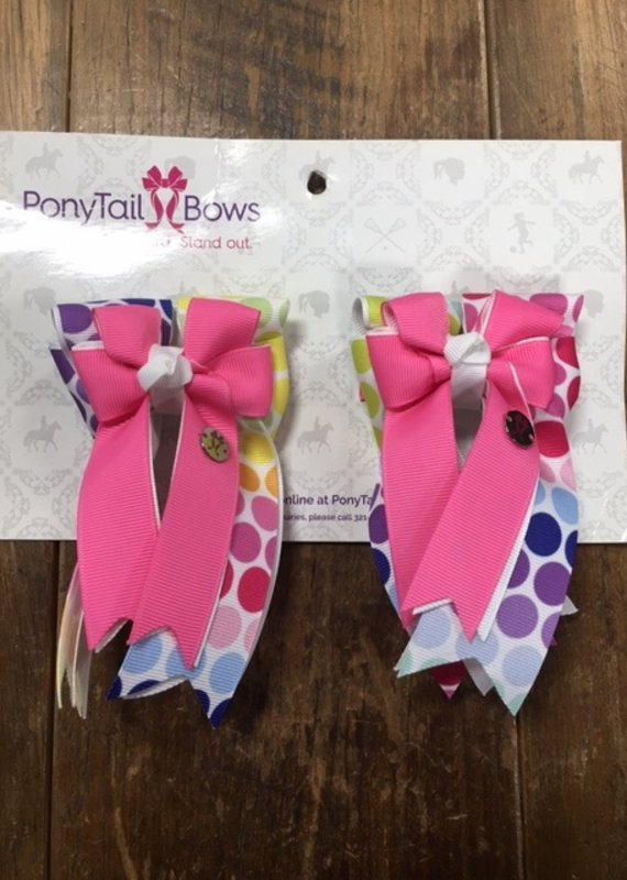 PonyTail Bows PonyTail Bows Pink and Rainbow Dots