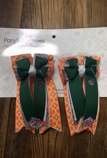 PonyTail Bows PonyTail Bows Green and Orange