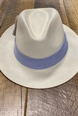 Wallaroo Hat Company Montery Hat Natural With Blue Pinstripes