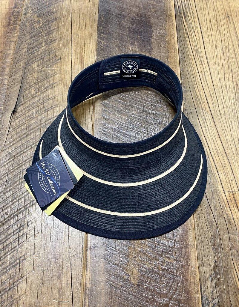 Wallaroo Hat Company Wallaroo Savannah Visor Black/Camel Stripes