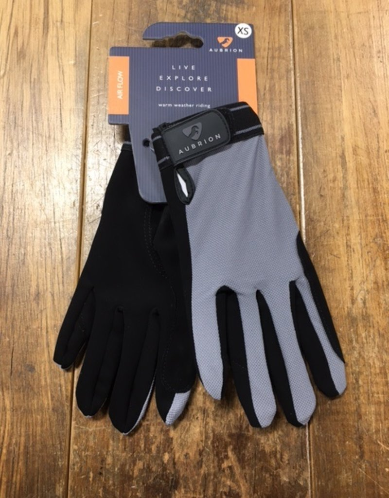 Shires Aubrion Mesh Riding Gloves Grey