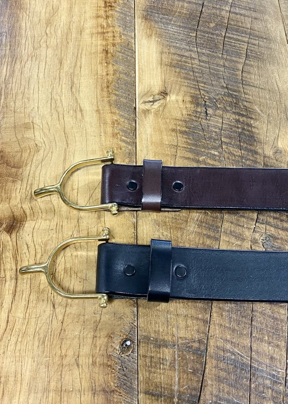 "Tory Leather Tory 1 1/2"" Brass Spur Belt"