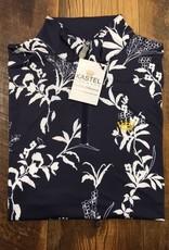 Kastel Kastel Ladies Shirred Cap Sleeve Sun Shirt Navy and White Floral