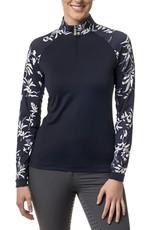 Kastel Kastel Ladies Long Sleeve 1/4 Zip Raglan Sun Shirt Navy and White Floral