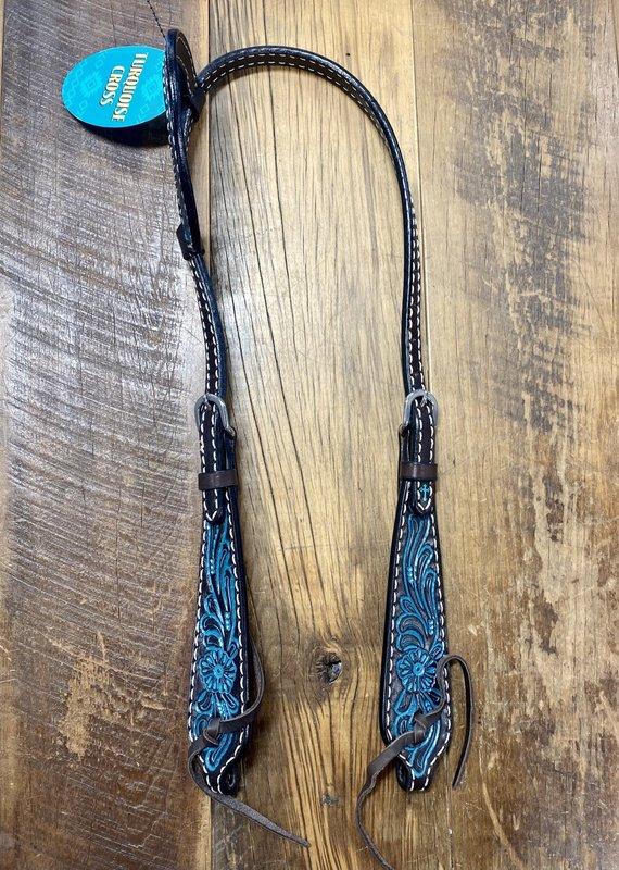 """Weaver Leather Weaver Turquoise Cross Carved Turquoise Flower 5/8"""" Sliding Ear Headstall"""