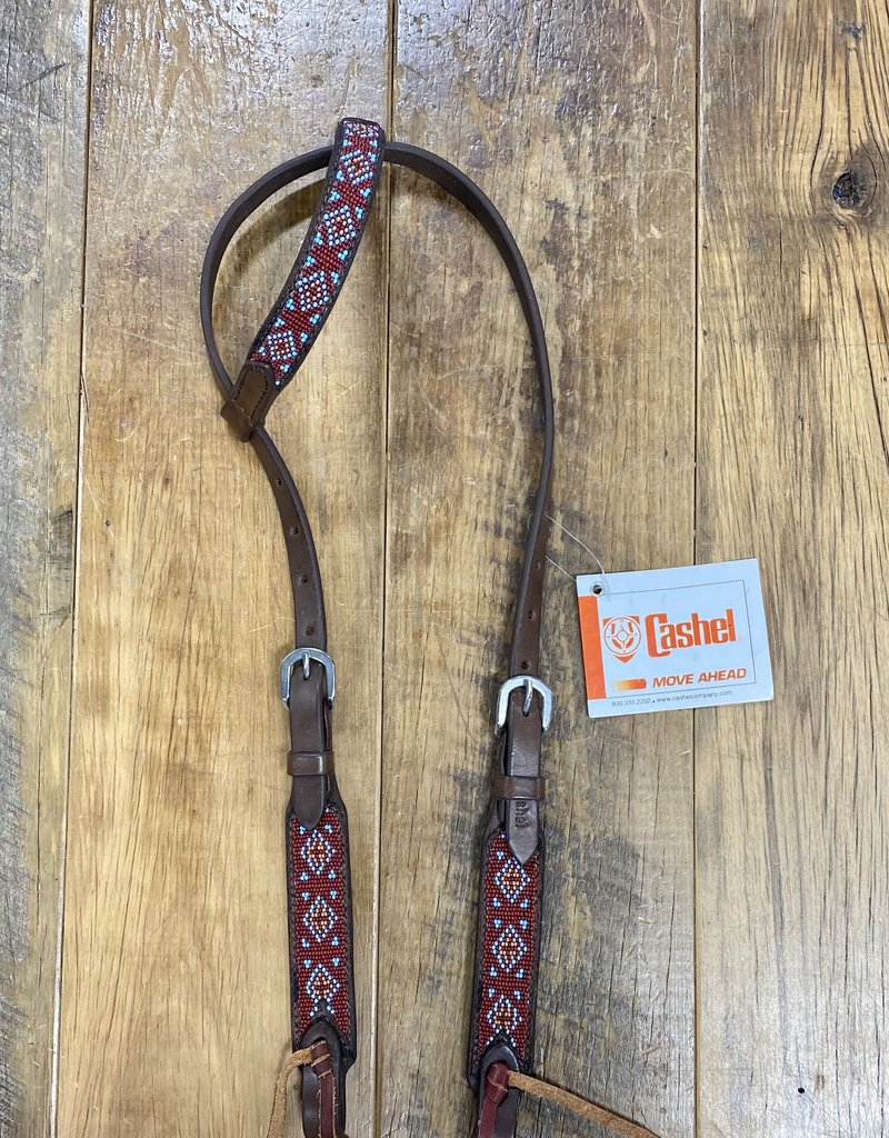 Cashel Cashel Beaded Turquoise and Rust Headstall with Browband