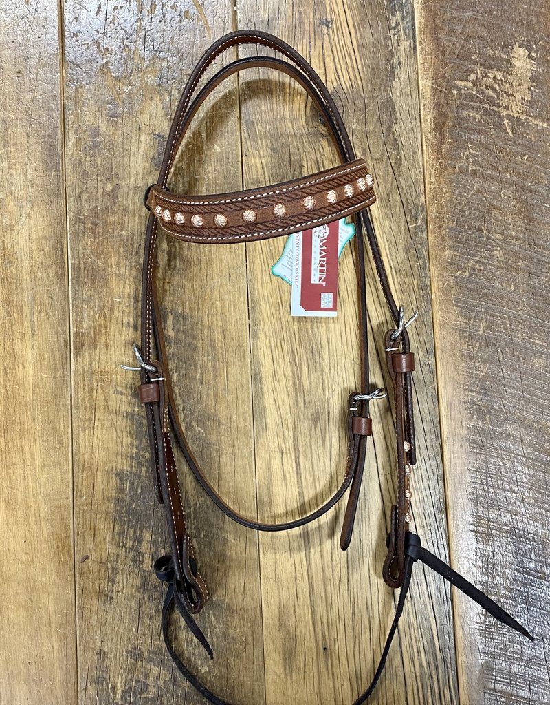 Martin  Saddlery Martin Saddlery Headstall With Copper Parachute Dots and Browband