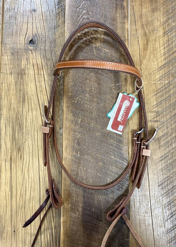 Martin  Saddlery Martin Saddlery Chestnut Headstall with Browband and Patena Buckles