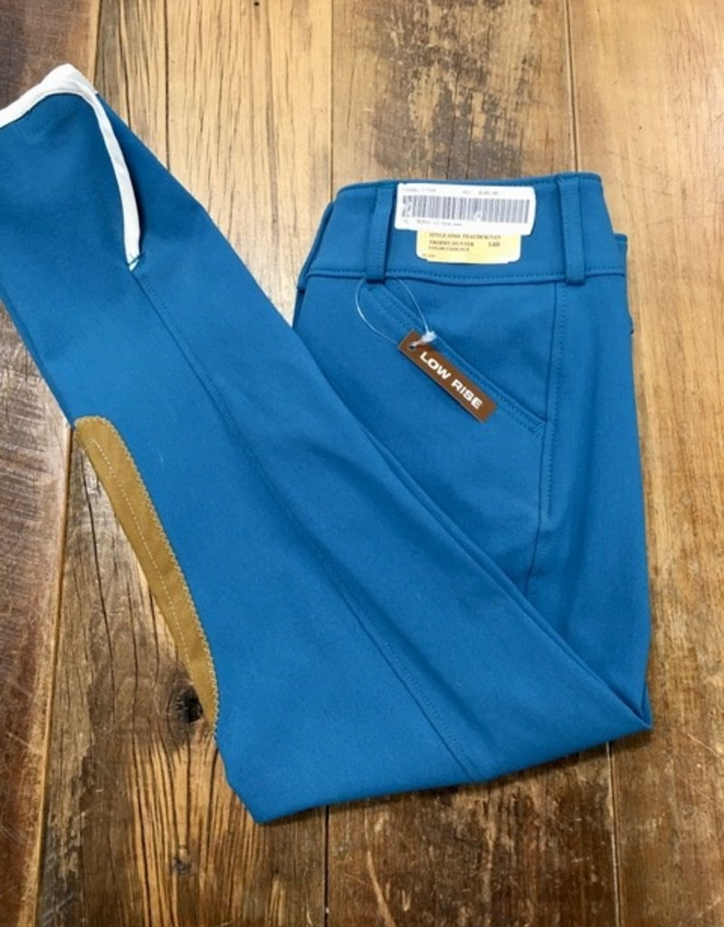 The Tailored Sportsman The Tailored Sportsman Girl's Trophy Hunter Low Rise Breeches Front Zip Peacock/Tan 14R