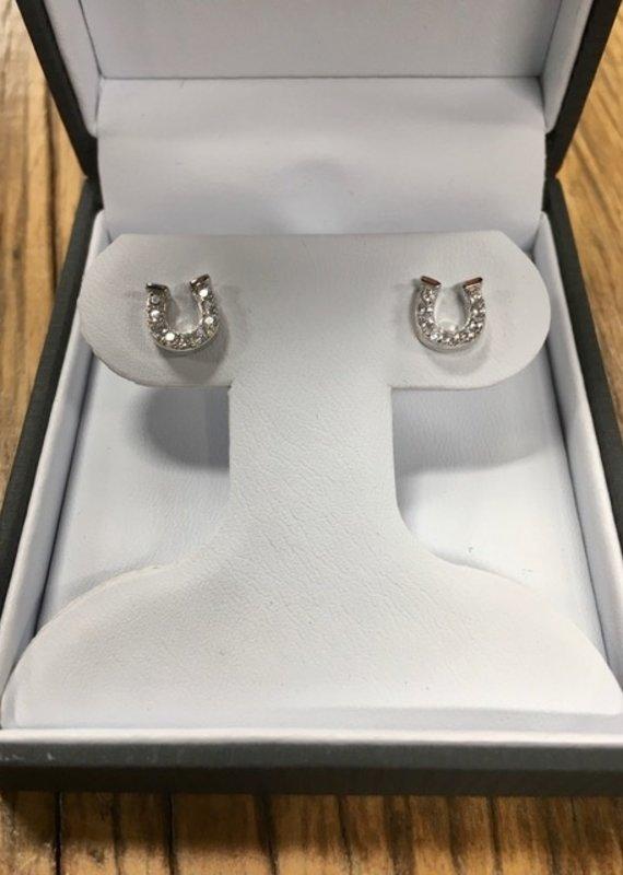 Kelly Herd Kelly Herd Clear Horseshoe Earrings- Sterling Silver