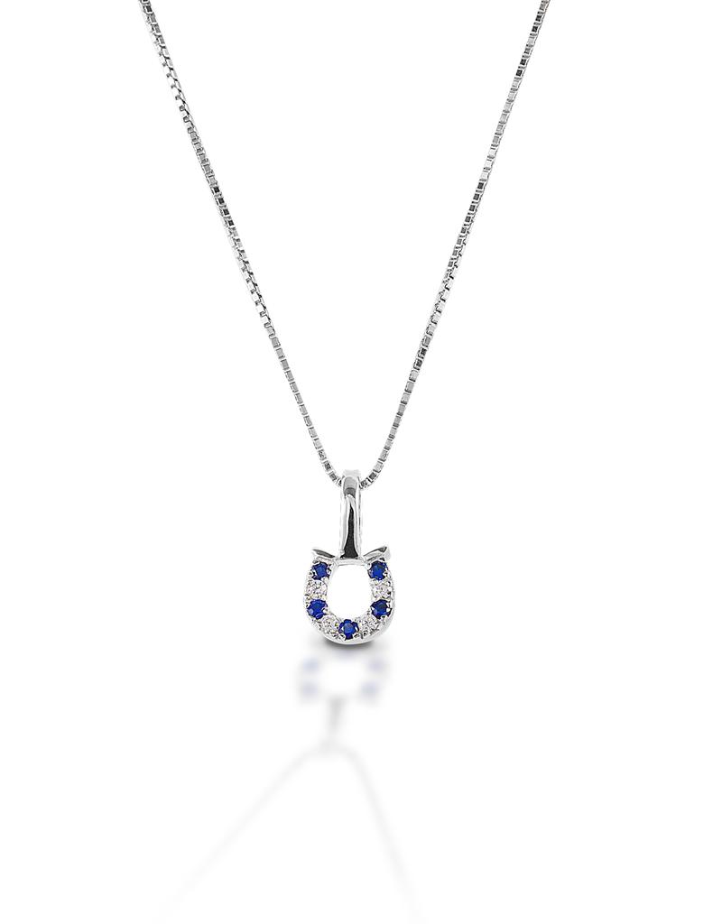 Kelly Herd Kelly Herd Blue & Clear Horseshoe Necklace- Sterling Silver