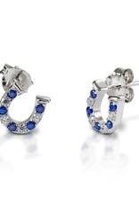 Kelly Herd Kelly Herd Blue & Clear Horseshoe Earrings- Sterling Silver
