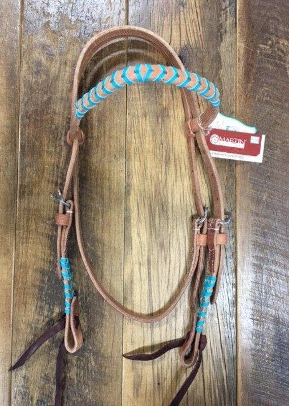 Martin  Saddlery Martin Saddlery Browband Headstall With Turquoise Lace