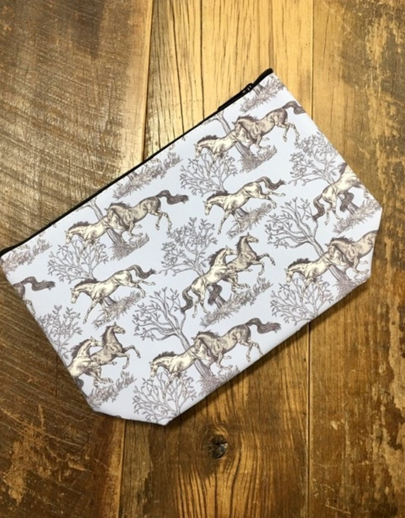 Blue Toile Large Cosmetic Pouch