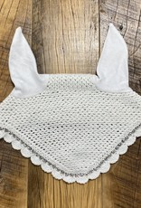 Pony Crochet Ear Bonnet White with Crystal Accents