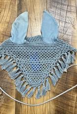 Horse Crochet Ear Bonnet Mist Green with Tassels