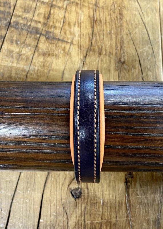 Horse Fare Classic Leather Padded Bracelet Dark Brown/Orange