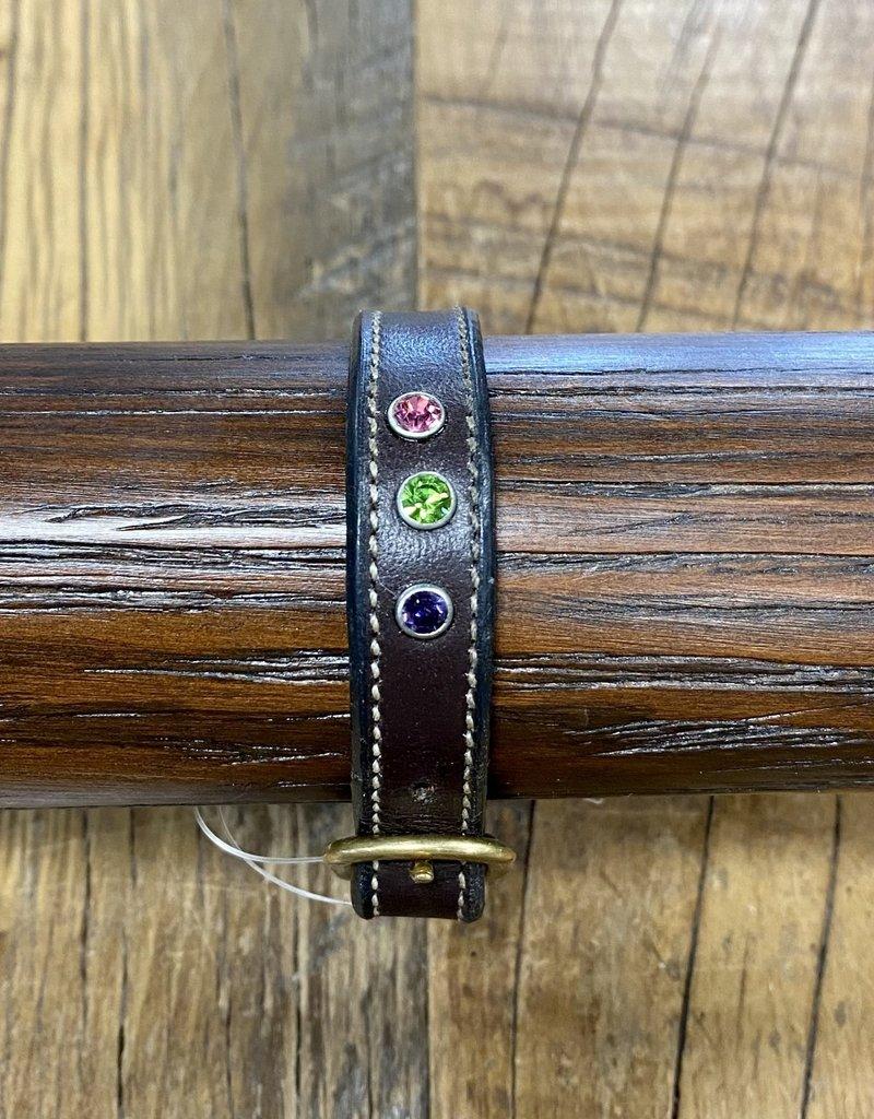 Horse Fare Plain Leather Bracelet with Garnet/Peridot/Amethyst Crsytal Rivets
