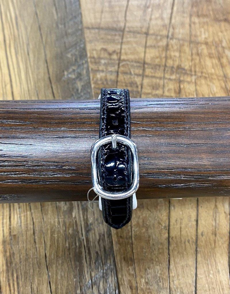 Horse Fare Croc Leather Padded Bracelet Black Patent/White