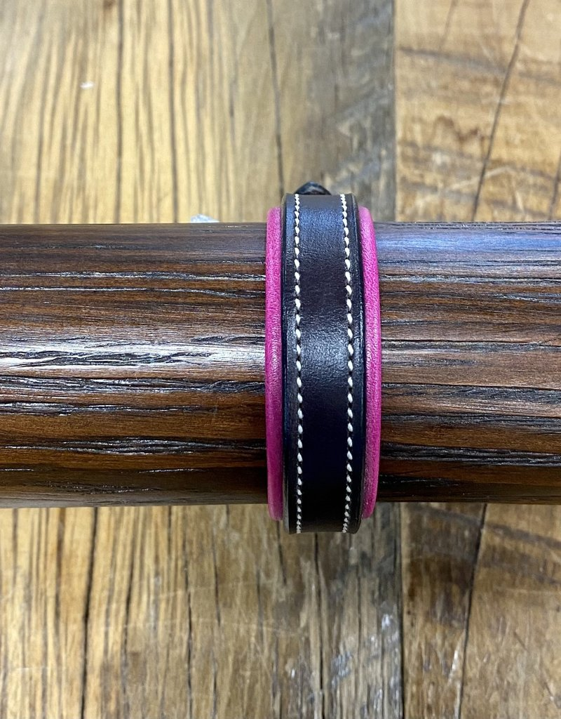 Horse Fare Classic Leather Padded Bracelet Dark Brown/Pink