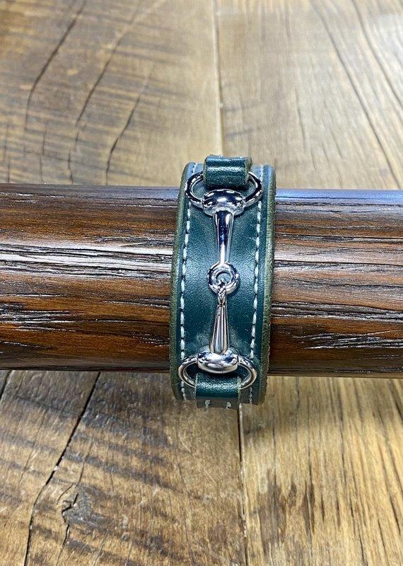 Leather Bit Bracelet Green