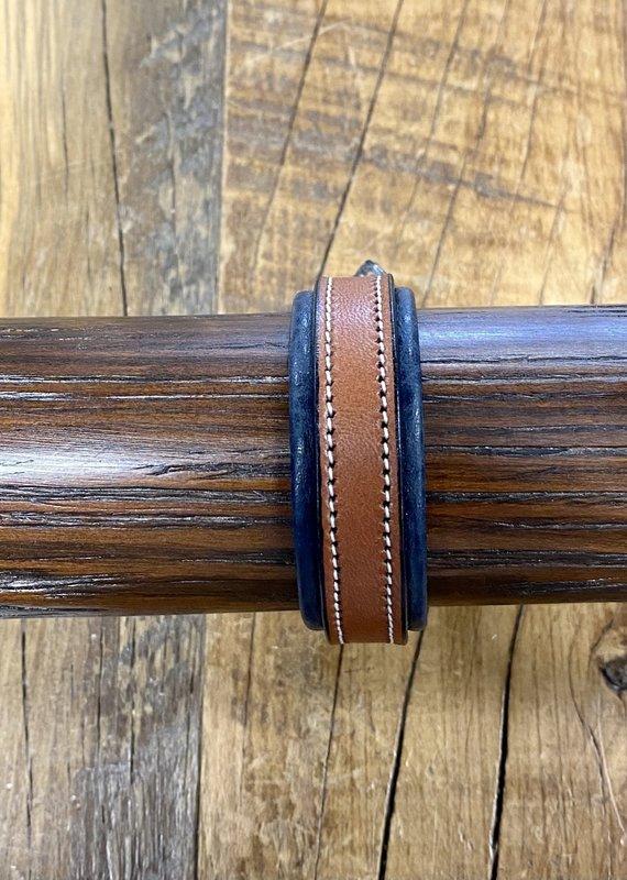 Tory Leather Tory Leather Padded Bracelet Oakbark/Navy