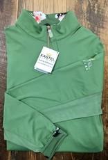 Kastel Kastel Long Sleeve 1/4 Zip Willow Floral Print and Green Sun Shirt L