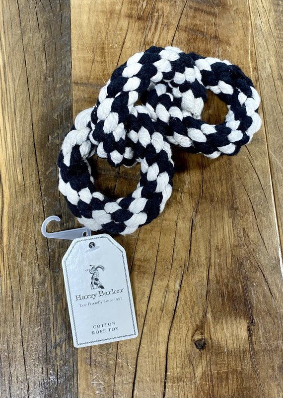 Harry Barker Harry Barker Striped Tri-Ring Rope Dog Toy Black