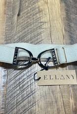 """Ellany Equestrian Ellany Sand Dakota 1.5"""" Gold Stirrup Elastic Belt"""