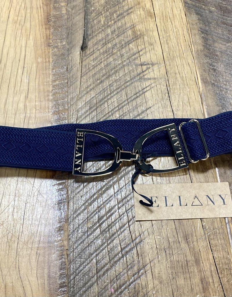 "Ellany Equestrian Ellany Navy Hampton 1.5"" Gold Stirrup Elastic Belt"