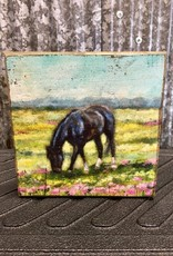 Primitives By Kathy Block Sign Horse with Flowers