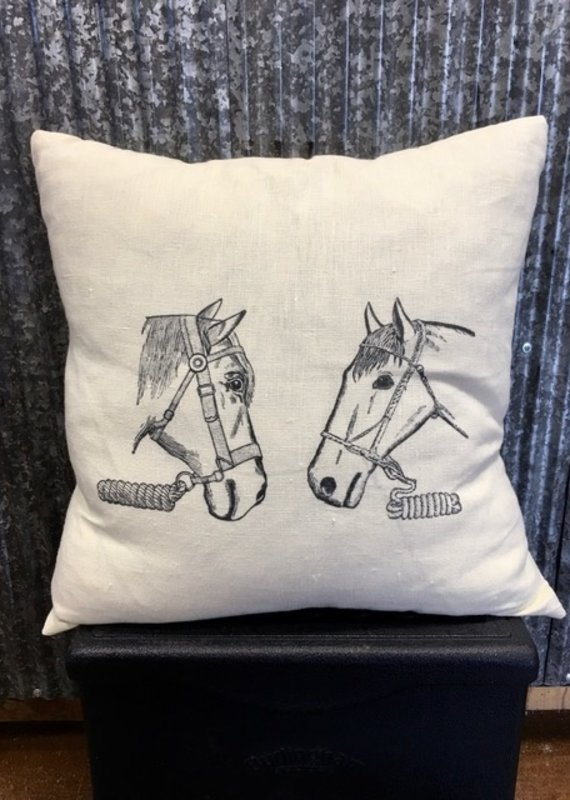 Ox Bow Decor Mr. and Mrs. Ed Equestrian Pillow Warm White Linen