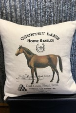 Ox Bow Decor Country Lane Horse Stables Pillow Natural Linen