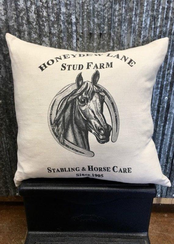 Ox Bow Decor Honeydew Lane Horse Stables Equestrian Pillow