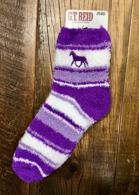 G.T Reid Fuzzy Purple Adult Horse Socks