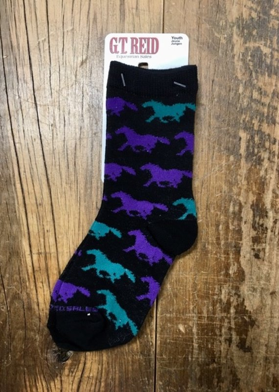 G.T Reid Purple And Green Youth Horse Socks