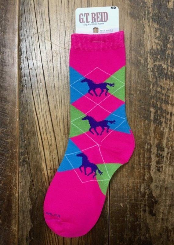 G.T Reid Pink Horse Argyle Socks