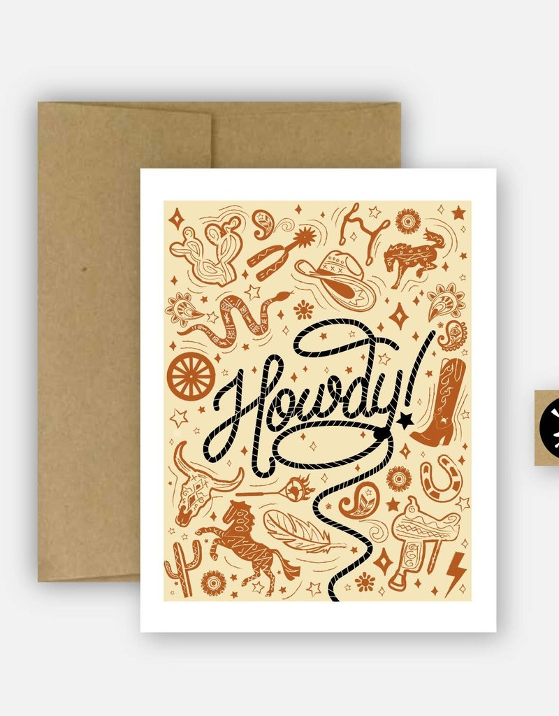 Hunt Seat Paper Co. Howdy Western Greeting Card