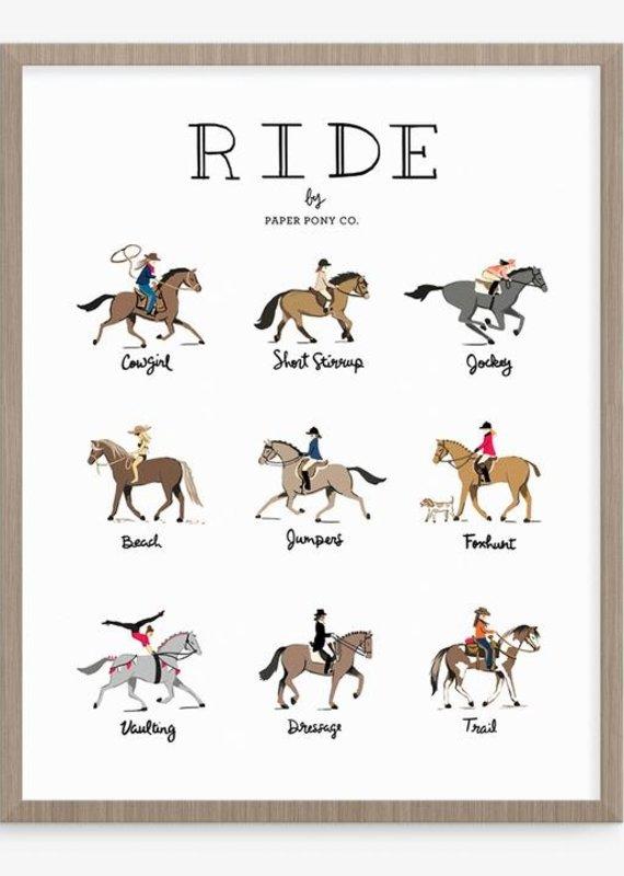 """Paper Pony Ride Horses Art Print 8"""" x 10"""""""