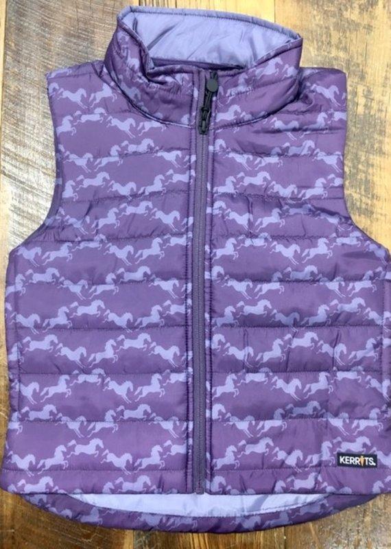 Kerrits Kerrits Kids Horse Crazy Quilted Vest Blackberry Diamond Horse