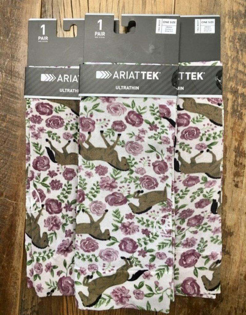 Ariat Ariat Tek Ultrathin Boot Socks Sea Salt Floral